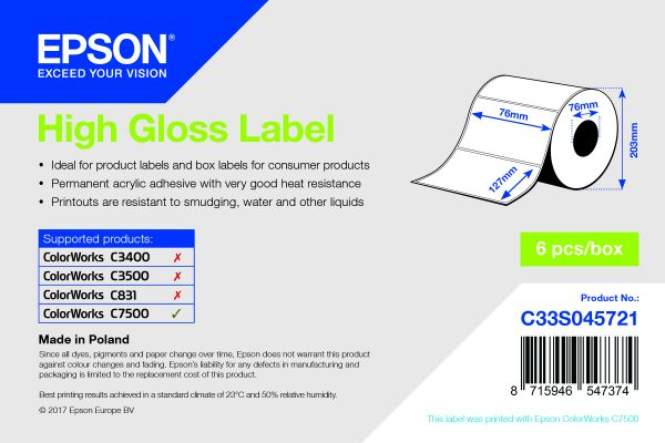 High Gloss Label - Die-cut Roll: 76mm x 127mm, 960 labels