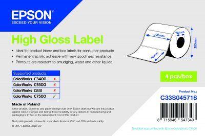 High Gloss Label - Die-cut Roll: 102mm x 76mm, 1570 labels