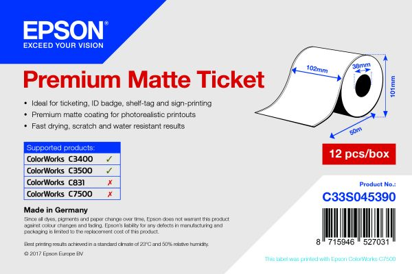 Premium Matte Ticket Roll, 102 mm x 50 m