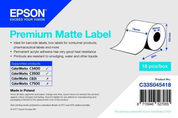 Premium Matte Label Continuous Roll, 76 mm x 35 m