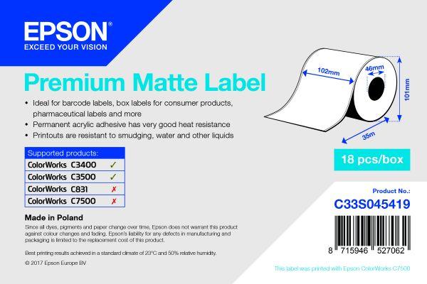 Premium Matte Label Continuous Roll, 102 mm x 35 m